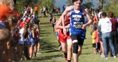 YSHS senior Carter Collins attacked the final hill at the Buck Creek Invitational cross-country meet on Saturday. Carter ran a lifetime best of 20:29 for the 5 kilometer high school distance. (Photo by Olivia Brintlinger-Conn)
