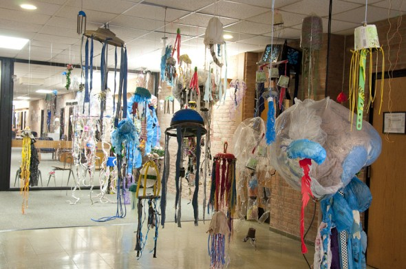 Through November Antioch College hosts an exhibit of recycled art from under the sea.
