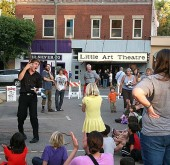 The celebration of the newly renovated and reopened Little Art Theatre last Saturday included Tony the juggler, who charmed an audience of small and big kids alike. (Photos by Suzanne Szempruch)