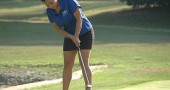 Yellow Springs High School senior Rachele Orme ended her YSHS golf career as the best female golfer in school history. Orme was a two-time district qualifier who competed against — and often defeated — boys for three of the four years she played. Here Orme sinks a putt during a match in September. (Photo by Lauren Heaton)