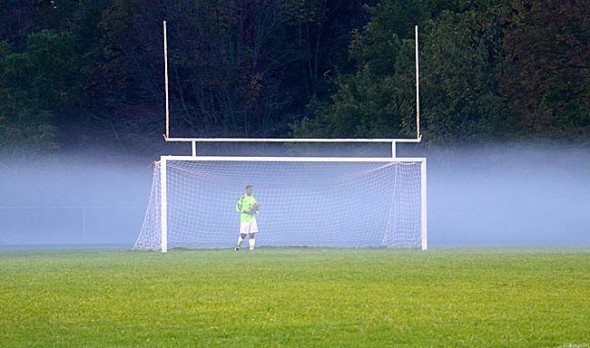 Yellow Springs High School keeper Eric Lawhorn protected the goal in a dense fog as the Bulldogs fought for the Metro Buckeye Conference title at home on Oct. 3. YSHS defeated Dayton Christian 3–1 to win the league outright for the first time since 2008. (Submitted photo by Michael Knemeyer)