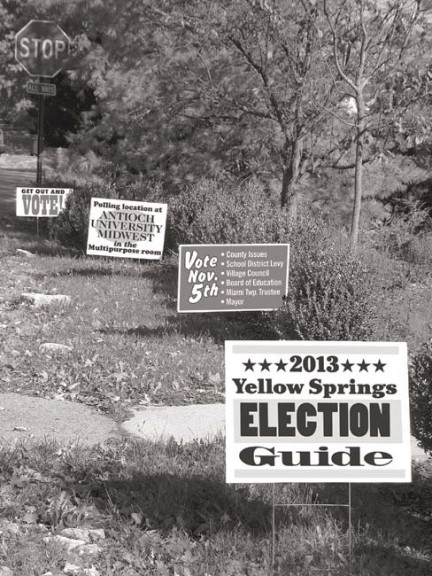 The 2013 Yellow Springs Election Guide contains information about the local candidates and issues that will appear on the Nov. 5 ballot for Yellow Springs and Miami Township residents.