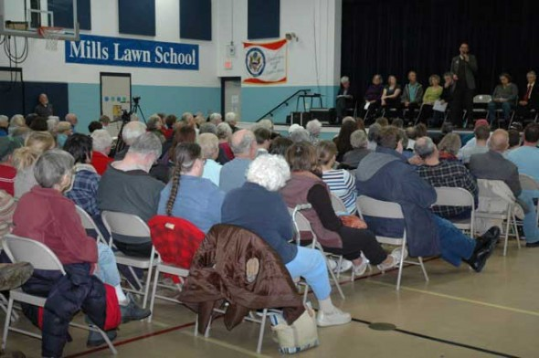 Villagers packed the Mills Lawn gym for Thursday's Candidates Night.