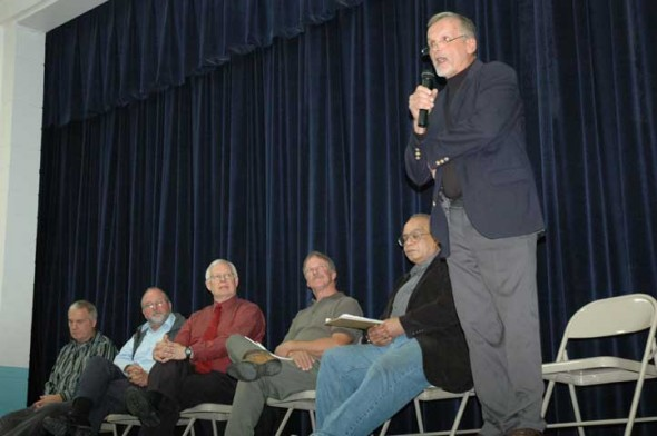 John Struewing spoke during the first part of the evening reserved for the Miami Township candidates.