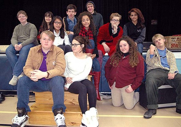 Prepped for winter in skates, sweaters and smoking jackets, YSHS thespians put on the northern town of Almost.