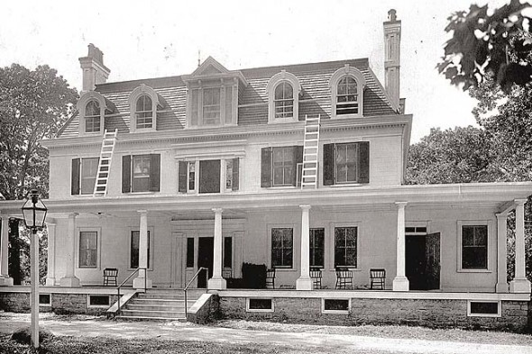 The Mills house was remodeled in the 1870s when the Means family owned it and added a tower, chimneys, the mansard roof and rounded Italianate dormer windows. It was razed from Mills Lawn in 1966. (Photo courtesy of Antiochiana)