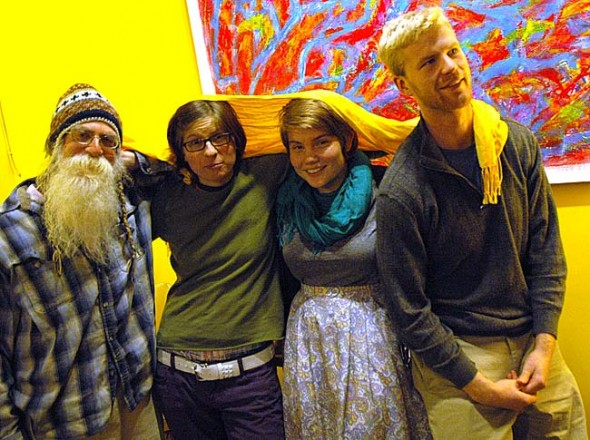 "Four local poets, from left, Robert Paschell, Jenny Johnson, Abby Lybrook and Jack Whitacre, organized the Yellow Springs Community Poetry Jam, from 7 to 10 p.m. on Friday, Nov. 22. The poets, ranging in age from 19 to 65, will perform original work during a ""free flowing evening"" of poetry, music, improvisation and more. (Photo by Megan Bachman)"