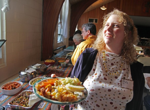 Eva Paige was one of more than 200 villagers, past and present, who enjoyed last year's community Thanksgiving dinner.