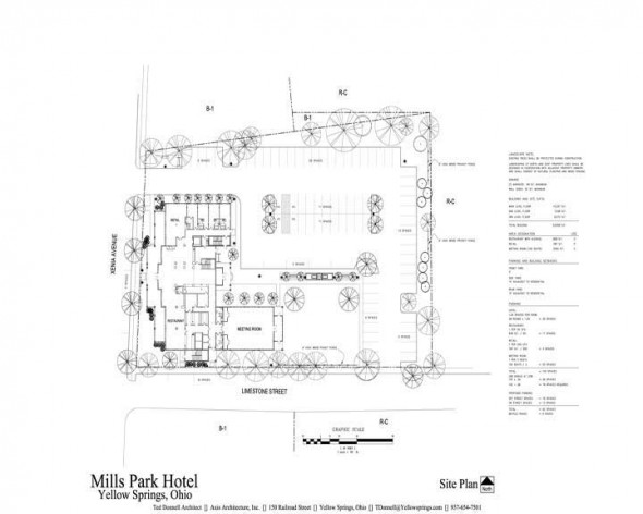 Site plan for the Mills Park Hotel.