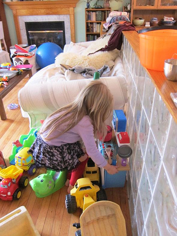 her blue kitchen