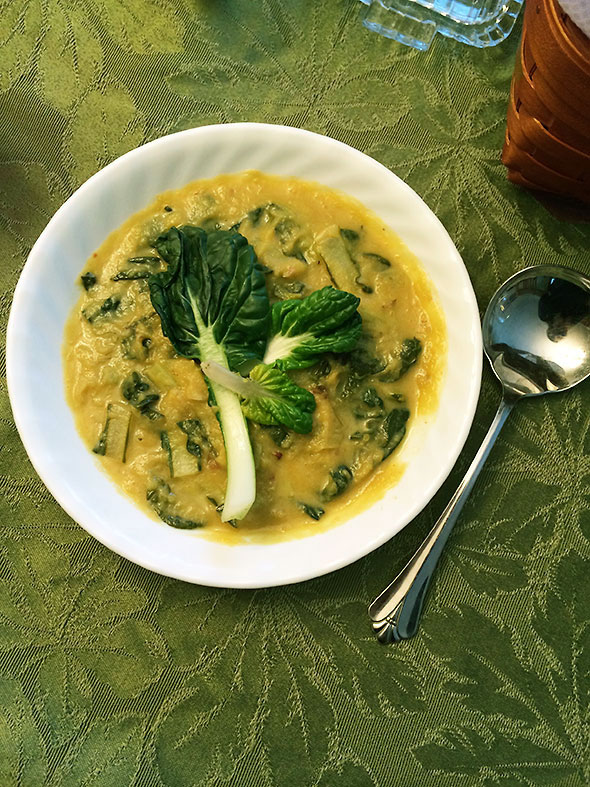 pumpkin and pak choy soup