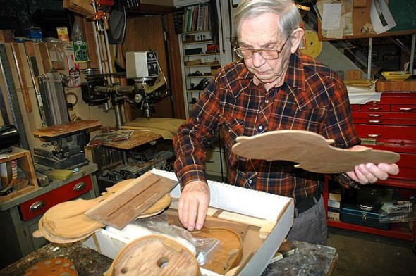 Ray Lewkowicz has been the go-to repairman for string players in and around the village. As a mathemetician and a musician himself, he opened his business, The Violin Doctor, out of a desire to learn the science and art of instrument making. (Photo by lauren Heaton)