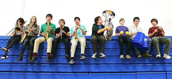 New Yellow Springs High School band Sassabrass, rooted in the tradition of New Orleans street musicians, will perform at the Friends Music Camp fundraiser on Dec. 29 and at a future event at the Spirited Goat. Members pictured here include, from left, Maddie Allen, Meredith Rowe, Gabriel Day, Jack Lewis, Joshua Seitz, Connor Gravley-Novello, Lucas Mulhall, Max Mullin and Peter Day. (Submitted photo by Nadia Mulhall)