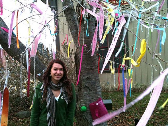 In the past several months, many villagers have taken advantage of the Wishing Tree, next to the Village train station. Created by new resident Alicia Chereton, the tree is designed to hold the hopes and dreams of community residents. (Photo by Anisa Kline)