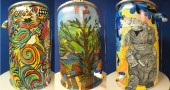 Three wonderfully painted rain barrels from a Nevada town, who has been doing a similar project for 5 years to help raise money for low income families to enjoy children's programs at their local zoo.