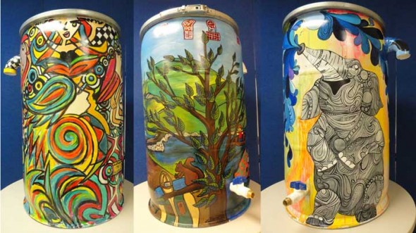 Three beautifully painted rain barrels from Lincoln, Nebraska, who has been doing a similar project for the past 5 years. They paint multiple rain barrels each year, the Human Relations Commission and the Arts Council are only offering 1 barrel for their project.