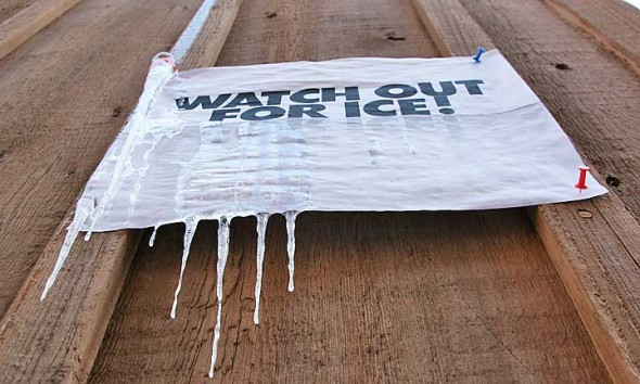 The 'watch for ice' sign that you see when you walk down the sidewalk to the News office. (photos by Suzanne Szempruch)