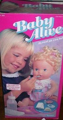 Baby Alive, circa 1992. A wonderful plaything that was both intermittently functional and terrifying.