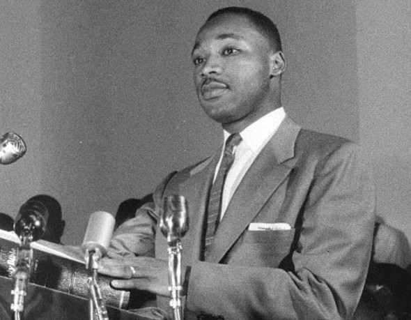 "A still image from Kaplan's film ""King: A Filmed Record"" shows a young Martin Luther King Jr. in archival news footage. (Photo courtesy of Kino Lorber)"