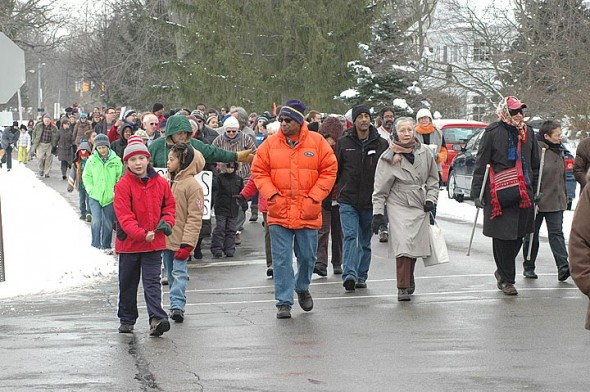 about 200 marchers participated in this year's march honoring Martin Luther King Jr.'s legacy. (Photo by Matt Minde)