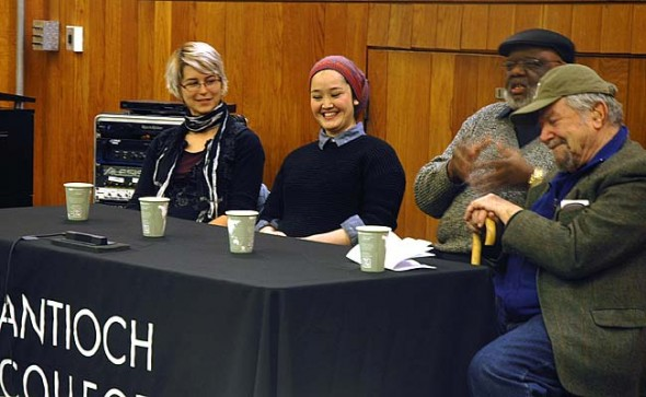 At a Martin Luther King Jr. Day discussion on the Antioch campus, panelists addressed the problems of racial discrimination and inequality. From left are panel members Megan Howes and Nagees Jumahan, both Antioch students, and Antioch alumni Maceo Cofield and Richard Kaplan. Not pictured is Antioch assistant professor of history Kevin McGruder, who moderated the event. (Photo by Megan Bachman)