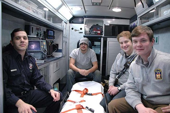 Miami Township Fire-Rescue volunteers, from left, Joe Panuto, Anthony Cascio, Nick Miller-Jacobson and Cayden DeFusco are among the first EMT students to take classes at the department as an accredited training center. (Photo by Lauren Heaton)