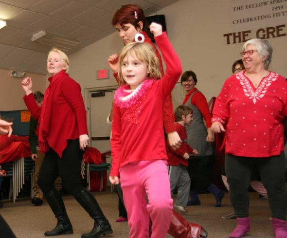Caroline Tucker enjoyed dancing with all the other women at the Senior Center.