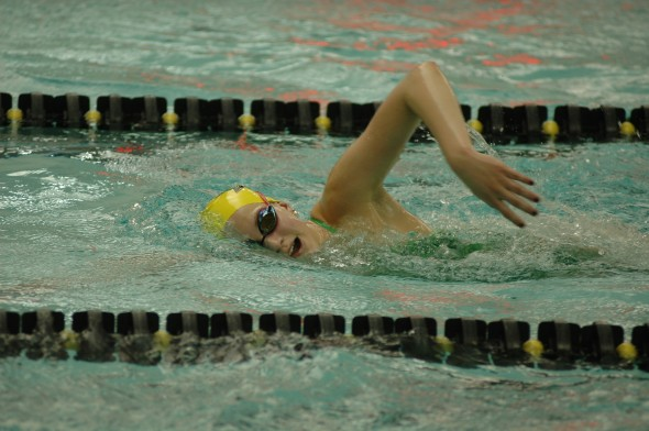 YSHS freshman Olivia Chick practiced earlier this week for the state swim meet. Chick finished in sixth and seventh place at the meet. (Photo by Megan Bachman)