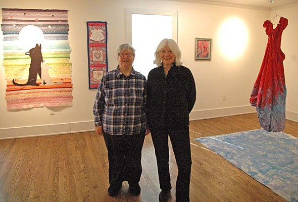 This year the 35th annual Women's Voices Out Loud performance and art exhibit will take place at the Herndon Gallery at Antioch College, at 7 p.m. Saturday, March 8. Shown are co-organizer Laurie Dreamspinner, left, and Antioch's Herndon Gallery Creative Director Dennie Eagleson. (Photo by Megan Bachman)