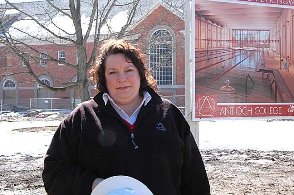 "Becky Harrison is the new director of the Wellness Center at Antioch College. She will help guide the remainder of the renovation of Curl Gym with a plan to open the new facility ""July-ish."" (Photo by Lauren Heaton)"