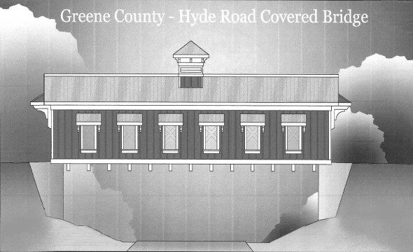 A rendering of the new Hyde Road covered bridge currently under construction, as seen from the bike path. Completion is scheduled for beginning of June. (Elevation plan courtesy of Greene County Engineering)