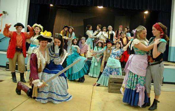 "The Yellow Springs High School Drama Club and the YSHS Theatre Arts Association present Gilbert & Sullivan's ""Pirates of Penzance"" at the Mills Lawn Auditorium on March 21–23. (Photo by Megan Bachman)"