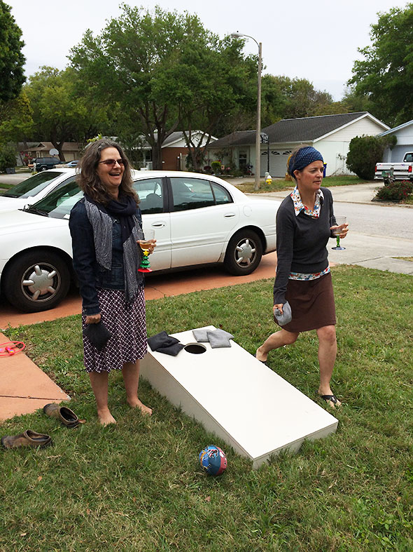 corn hole with the sisters