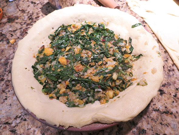 filling of squash and greens