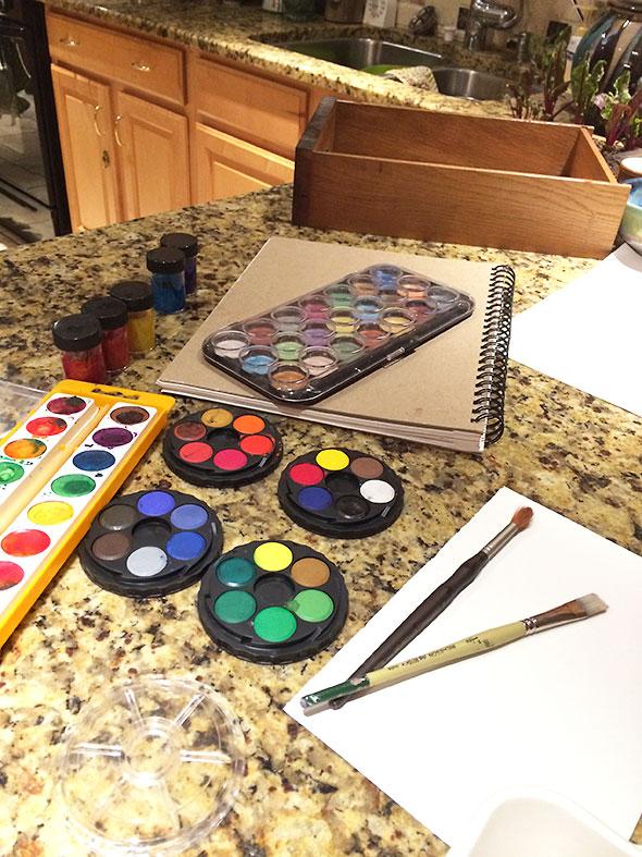 paints, paper, brushes