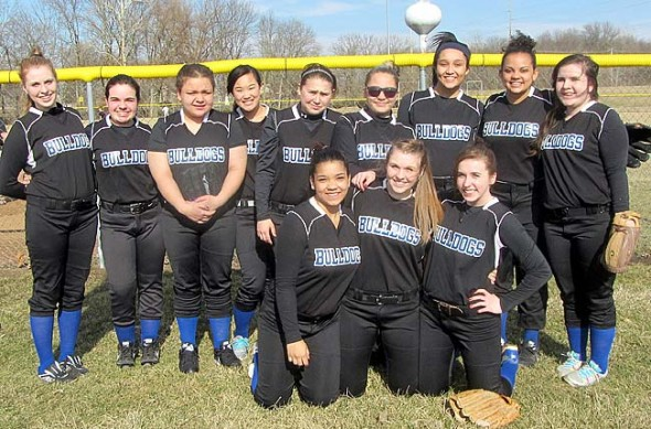 Members of the 2014 Yellow Springs High School girls varsity softball team are, from left, front row, Ashley Longshaw, Jesi Worsham and Chelsea Horton; back row, Dani Worsham, Amelia Gray, Victoria Willis, Aliza Skinner, Rachel Hiatt, Evelyn Greene, Sierra Lawrence, Rachele Orme, Olivia Ramage. Not pictured are Nekyla Hawkins, Danny Horton and Shanice Wright. (Submitted photo by Jimmy DeLong)