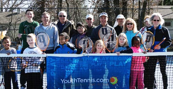 "On Sunday, March 31, six Yellow Springs boys and girls participated in a ""Play Day"" tennis event for first graders on the Antioch courts. Ten coaches led the youngsters through a series of drills designed to help them develop rudimentary tennis skills. (Submitted photo)"