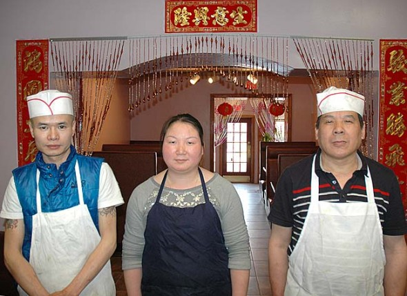 Earlier this month, from right, Ken Yang and Lixia Gao, and Lixia's father Zhi You Gao opened Lucky Dragon serving Chinese fare on Dayton Street, the former location of Chen's Asian Bistro. The restaurant opens daily at 11 a.m., (noon on Sundays) and closes between 10:30 and 11 p.m. (Photo by Lauren Heaton)