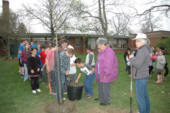 Mills Lawn students planted trees on school grounds in celebration of Arbor Day on April 25.