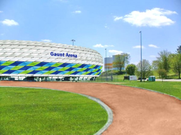 The planned Major League Soccer (MLS) stadium, tentatively named Gaunt Arena, is shown here in this architectural rendering.