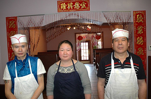 From right, Ken Yang and Lixia Gao, and Lixia's father Zhi You Gao opened a Chinese restaurant at the former location of Chen's Asian Bistro.
