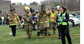 YSHS senior Zach Kimmet organized a mock crash and rescue scene played out three days before prom.