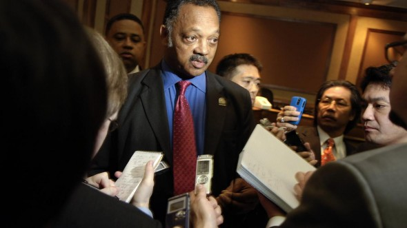 Jesse Jackson, Sr. speaking to the press