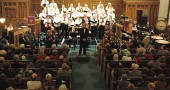 The YS Community  Orchestra performing a holiday concert in 2011 with the YS Community Chorus.