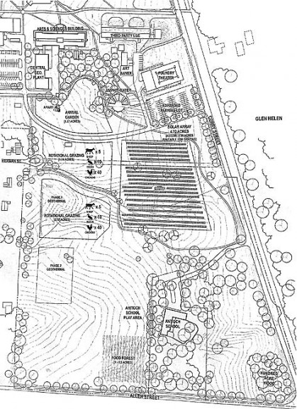"""Antioch College will share its South Campus Master Plan at a public meeting at 7 p.m. Wednesday, May 7, in the John Bryan Community Center gymnasium. This year the college plans to use the land known as the """"golf course"""" for growing vegetables, grazing meat animals, planting a food forest and constructing a five-acre solar photovoltaic array. (Site plan coutesy of Antioch College)"""