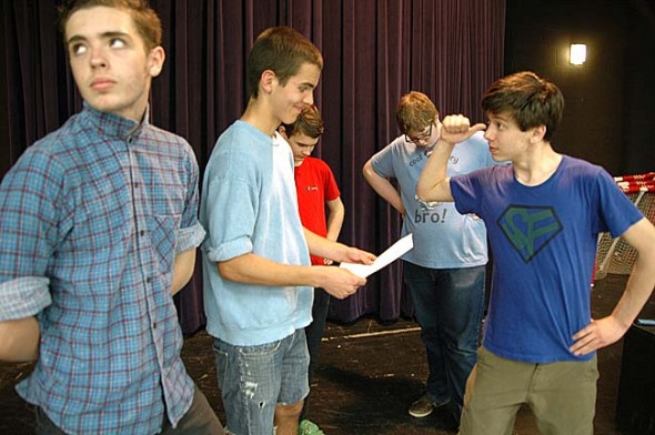 """My Brother's Keeper,"" a vignette about Cain and Abel including, from left, Blaze Wright, Sam Crawford, Jeremiah Scott, Bear Wright and Josh Seitz, is part of the Yellow Springs High School One Acts showing this weekend at Mills Lawn auditorium. Friday and Saturday shows start at 8 p.m, Sunday's show is at 2 p.m. (Photo by Lauren Heaton)"