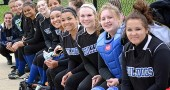 While the YSHS girls softball season ended on May 13 after a tournament loss to Southeastern, the season was a success, with a 16-strong roster of girls who won four games and averaged an impressive 13 runs per game. The team was all smiles on the bench on May 3, when they won back-to-back games during a double-header at Belmont. From right are Evelyn Greene, Danny Horton, Jesi Worsham, Ashley Longshaw, Sierra Lawrence, Nekyla Hawkins, Chelsea Horton, Shanice Wright, Maddie Gueth, Victoria Willis and Amelia Gray. (Submitted photo by Coach Jimmy DeLong)