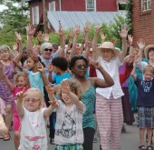 """The Senior Center sponsored """"Flash Mob"""" on Short Street yesterday. (photos by Suzanne Szempruch)"""