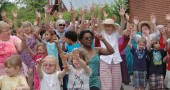 "The Senior Center sponsored ""Flash Mob"" on Short Street yesterday. (photos by Suzanne Szempruch)"