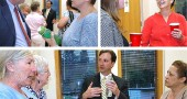 About 100 villagers attended last Thursday's candidate forum at Bryan Center, where the three manager finalists answered questions formally to an audience, and then informally at a reception. Shown above at the reception are, clockwise from top left, candidate Bob Kellogg and Dawn Johnson; Rose Pelzl and candidate Patti Bates; and from left, Peggy Koebernick, Sandy Love, candidate Dave Elmer and Chrissy Cruz. Village Council will announce its decision at its June 2 meeting. (Photos by Diane Chiddister)